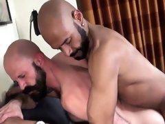 Hot and horny big cock daddies fucking hard at home