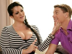 Big-boobed mommy Anissa Jolie enjoys his young sausage
