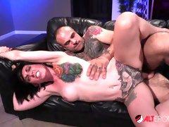 Flexible tattooed babe Miss Marie Bossette enjoys hardcore sex