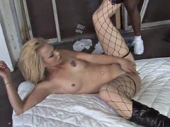blonde bitch with fishnet stockings fucked by black dudes