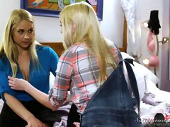 Sarah Vandella and Kenna James are playing in the bedroom