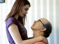 Skinny young redhead Tera Link opens her hole for an old man