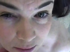 Naughty mature lady blows a big pole and gets facialized
