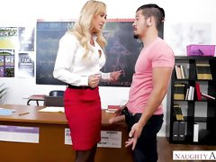 Spicy big-boobed blonde Brandi Love nailed in the classroom