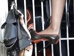 Caged slave got out to worship feet BDSM fetish porn