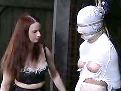 Slutty bitch tied up and dominated by lezdom BDSM mistress