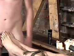 Naked and restrained, twink boy Kamyk's feet are well used