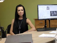 Small-tit brunette with tattoos jumps on a hard dick in the office