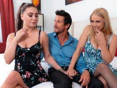 Two beauties Sarah Vandella and Jojo Kiss love his curved dick