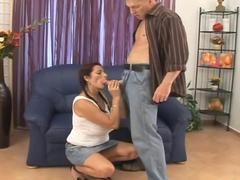 Saggy tits mature rejuvenated with a cock ride on the couch