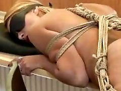 European slave slut tied up and fucked into submission BDSM