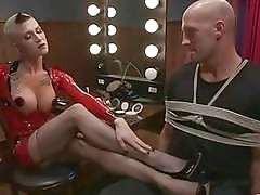 Shot haired shemale mistress drills her boy toy with pleasure