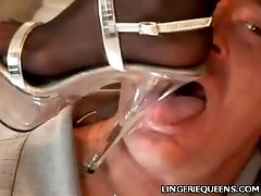 Asian In Stockings Rubbing a Cock