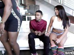 Busty brunette Julz Gotti opens her hole for a young black cock