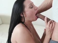 Brunette MILF fucks another man for her husband
