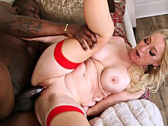 Bimbo granny is fiercely used by a hung black hunk