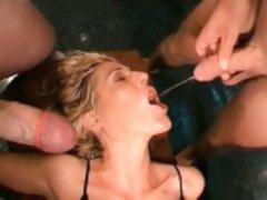 Busty brunette slut goes crazy sucking part2