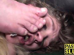 Puny Brit victim gulping spunk after tough dom approach