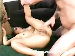 Tattooed Asian Does Threesome