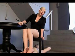 Blond Mistress sexy footjob - slave cleans up