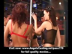 Stunning lovely redhead girl dancing and streaptease on a party