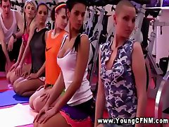 CFNM teens get a sexy work out with their stud trainer