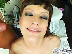 It's time for Regina to suck some hard cocks. She cleans up each dick and then gets her pretty face covered in several loads of sticky white cum