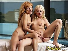 Beautiful teen lesbians lick